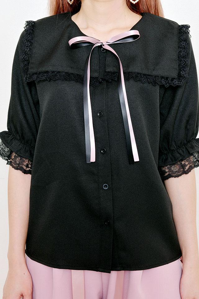 【MA*RS】セーラーカラーレースフリルブラウス(2色リボン付き) - ブラック size-F