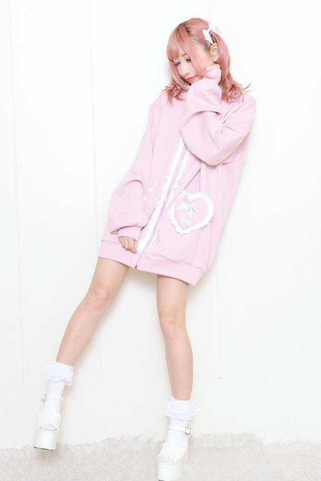 【Princess Melody】♪くまみみハートポッケZIPパーカー♪ - ピンク size-F