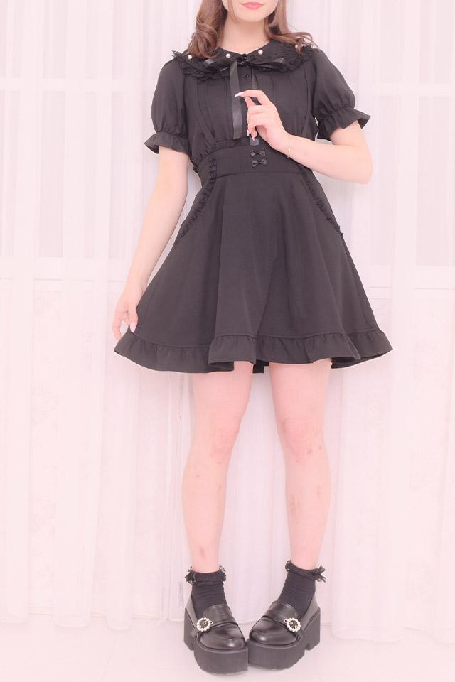 【MA*RS】リボン付ポケットレースフレアスカート - ブラック size-F