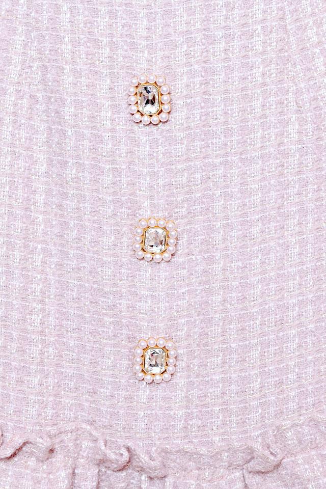 【Princess Melody】♪Pinkフロントビジュー春ツィードスカート♪ - ピンク size-F
