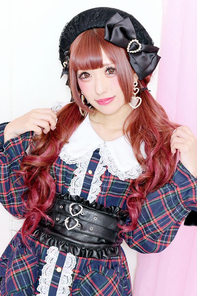 【Princess Melody】♪ダブルパールハートバックル付きコルセットベルト♪ - BLK/ゴールド size-F