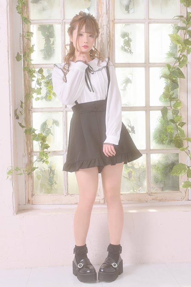 【MA*RS】襟フリルレースブラウス - ホワイト size-F