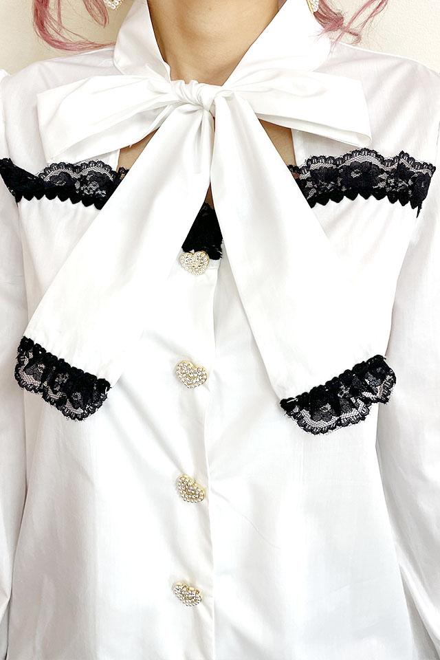 【Princess Melody】♪前あきおりぼんブラウス♪ - ホワイト size-F