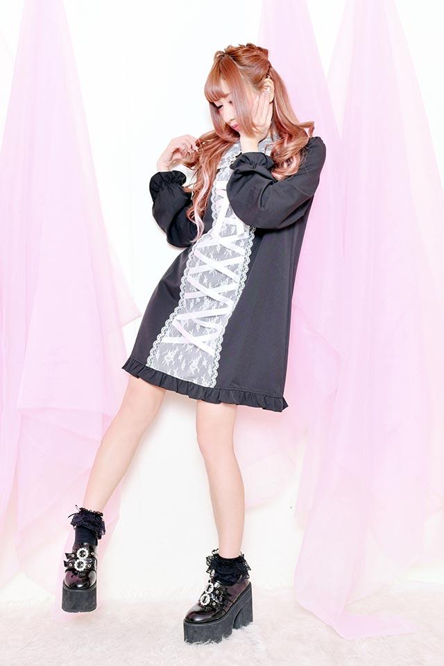 ☆44%OFF☆【Princess Melody】♪フロントあきレースアップワンピ♪ - ブラック size-F
