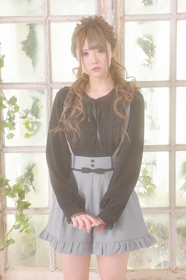 【MA*RS】襟フリルレースブラウス - ブラック size-F