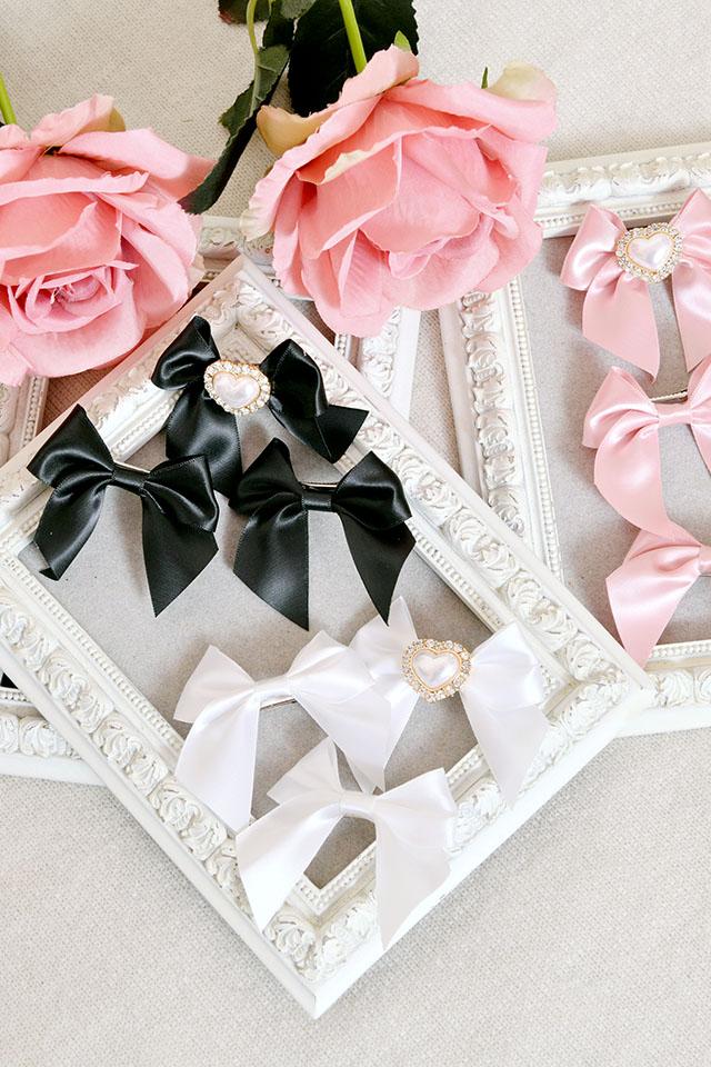 【Princess Melody】♪パールハートぷちおりぼんクリップ3個SET♪ - ブラック size-F