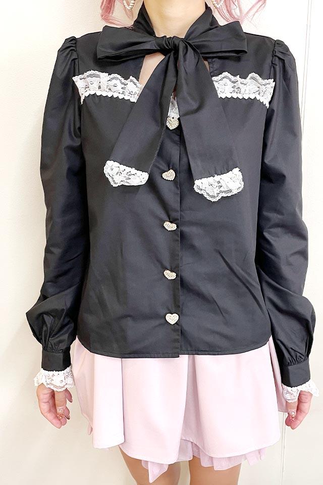 【Princess Melody】♪前あきおりぼんブラウス♪ - ブラック size-F