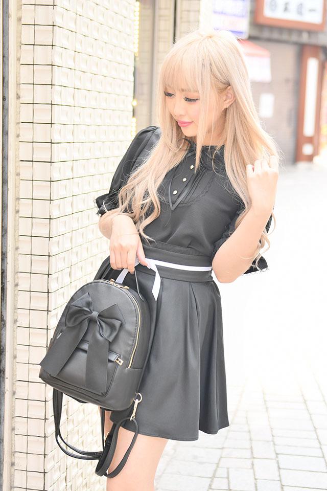 【MA*RS】サテンリボンリュック - ブラック size-F