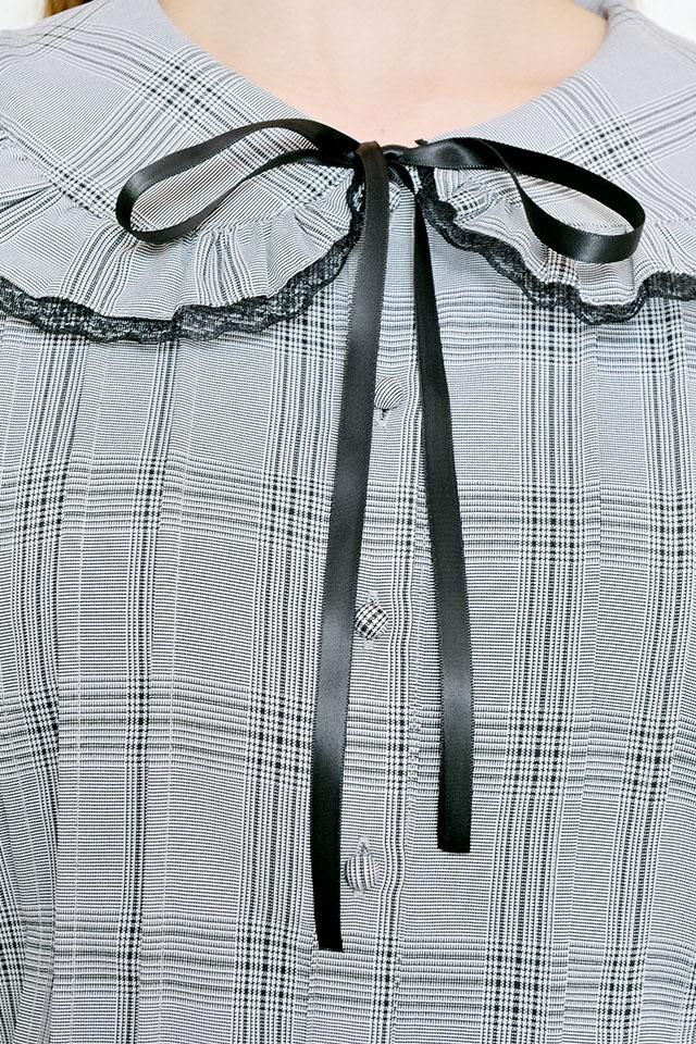 【MA*RS】襟フリルレースブラウス - BLK/ホワイト size-F
