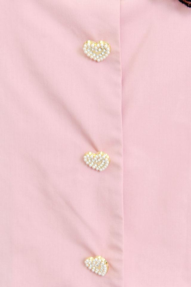 【Princess Melody】♪前あきおりぼんブラウス♪ - ピンク size-F
