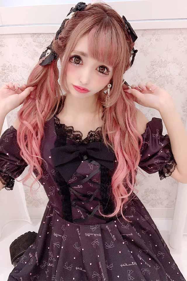 【Princess Melody】♪プリンセスおりぼん柄&無地肩あきワンピ♪ - ブラック size-F