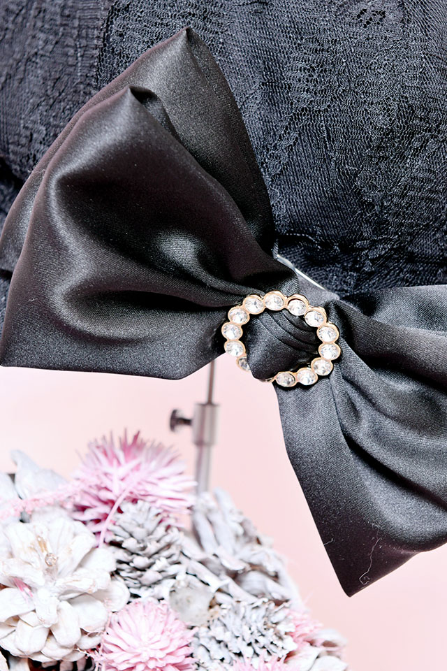 【Princess Melody】きらきらリング付きおりぼんレースキャスケット - ブラック size-F