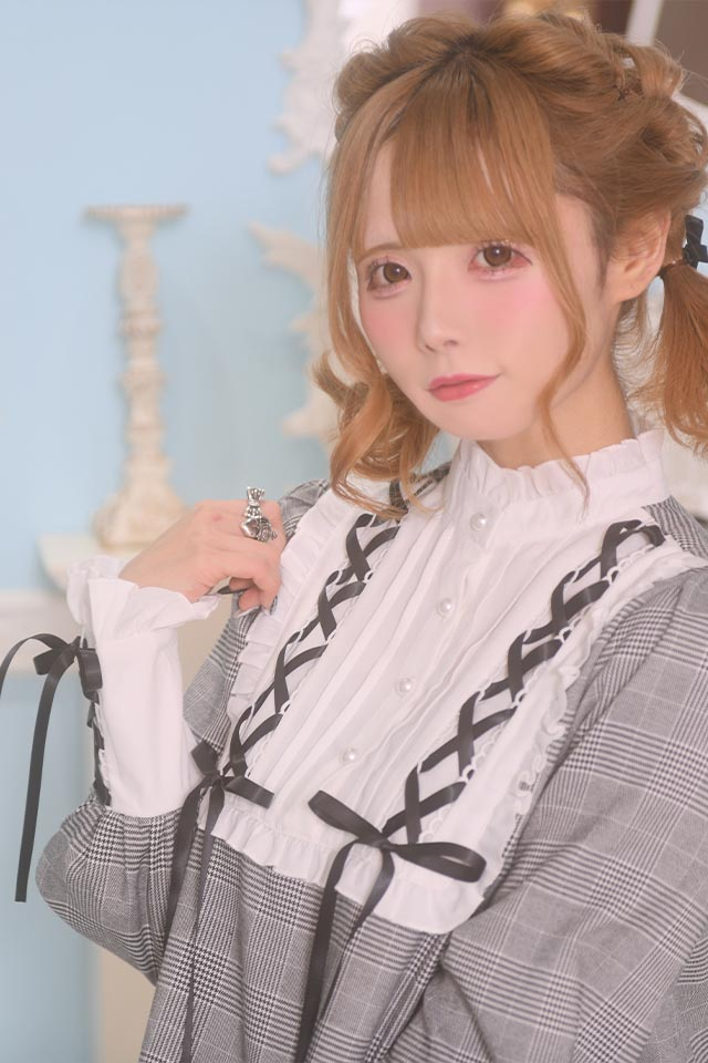 【MA*RS】フリルハイネックレースアップヨークワンピ - BLK/ホワイト size-F