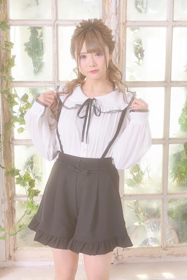 【MA*RS】くるみボタン&リボン付きショートパンツ - ブラック size-F