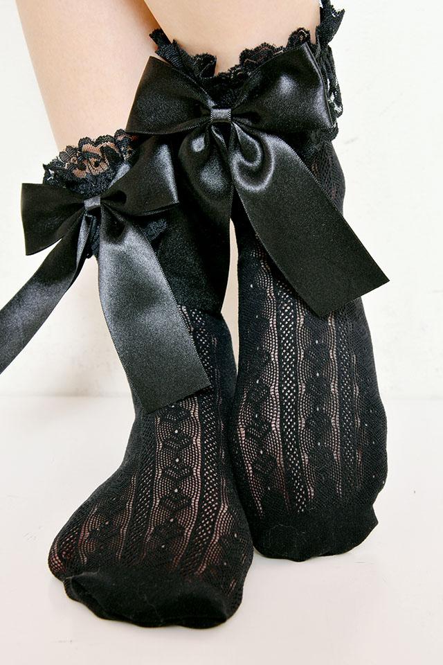 【Princess Melody】♪ハートレースおりぼんソックス♪ - ブラック size-F