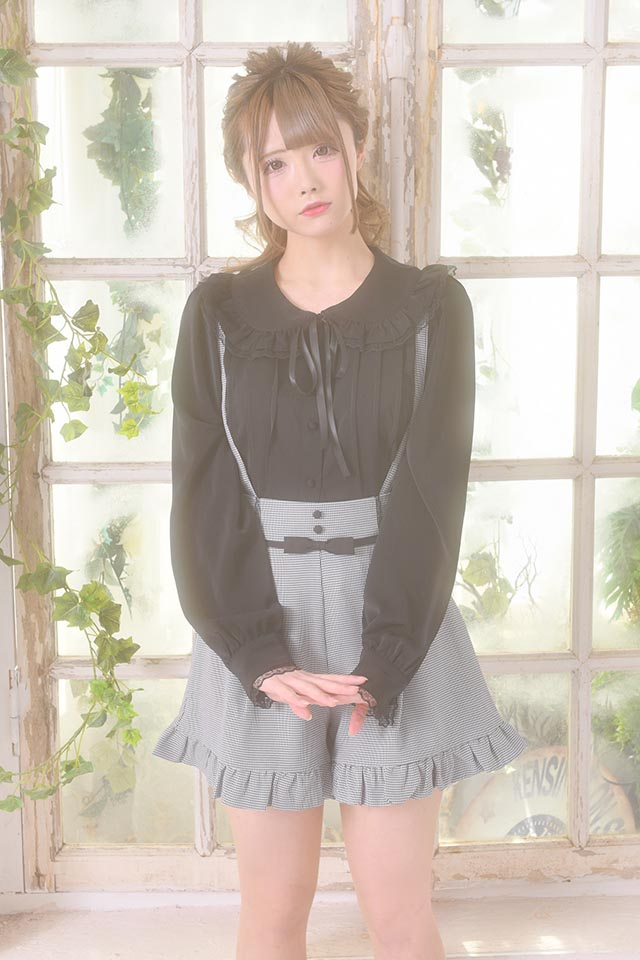 【MA*RS】くるみボタン&リボン付きショートパンツ - BLK/ホワイト size-F