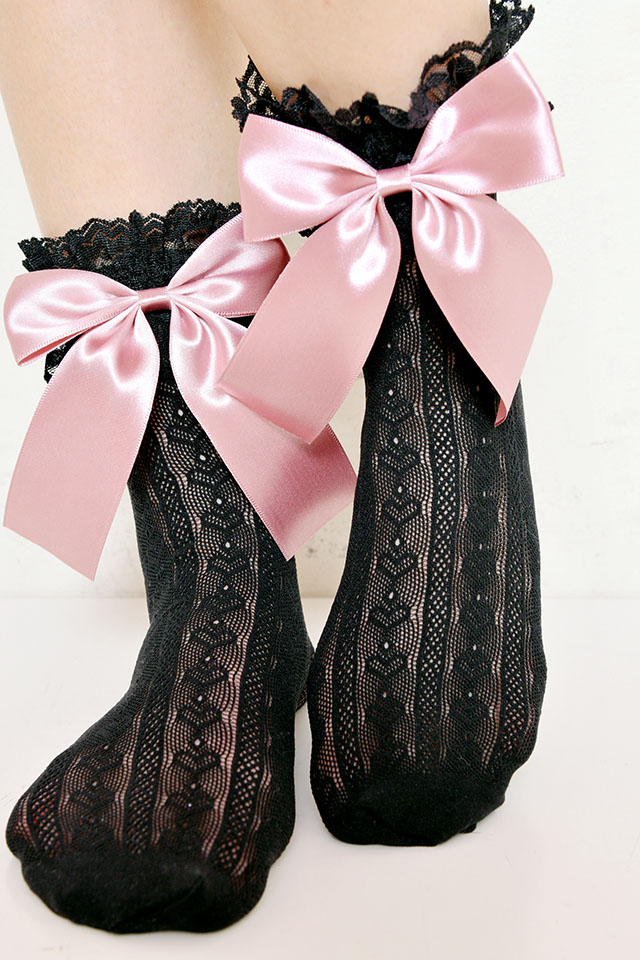 【Princess Melody】♪ハートレースおりぼんソックス♪ - BLK/ピンク size-F