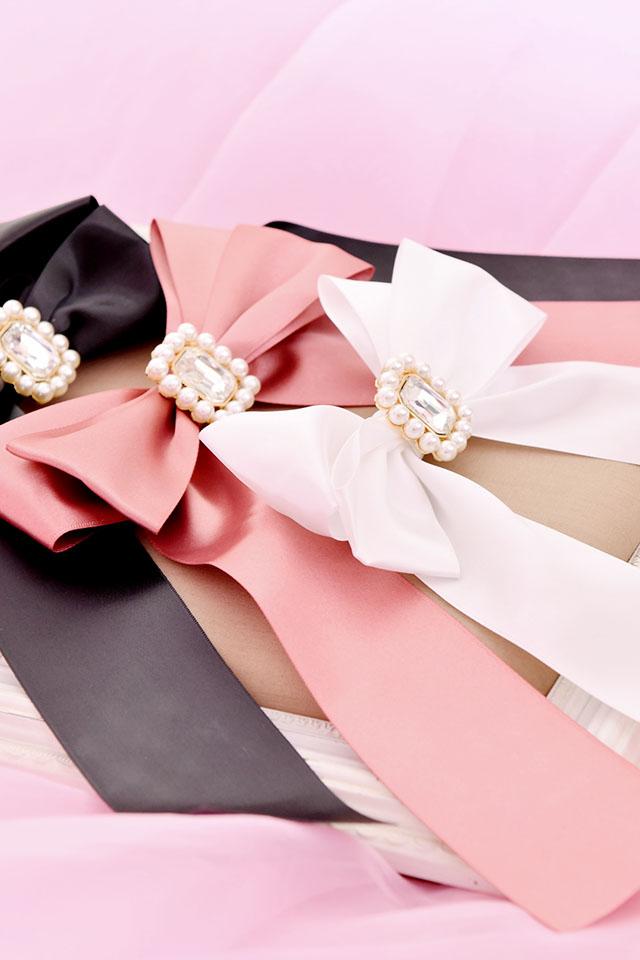 【Princess Melody】♪きらきらビジューおりぼんクリップ♪ - ホワイト size-F