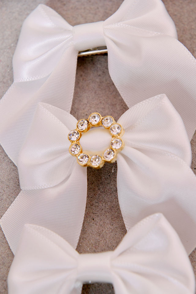 【Princess Melody】♪ビジューリングぷちおりぼんクリップ 3個SET♪ - ホワイト size-F