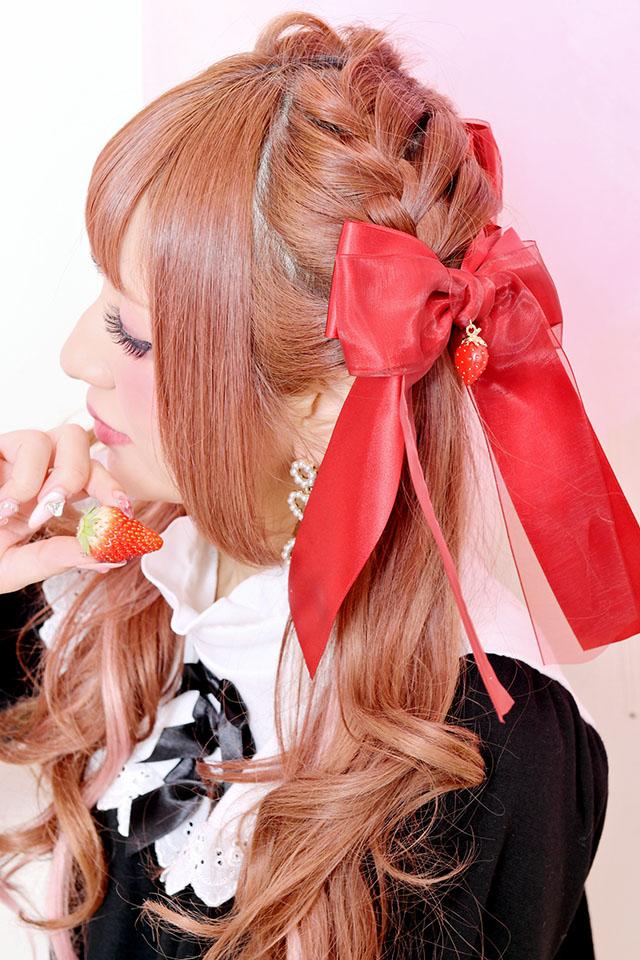 【Princess Melody】♪いちごおりぼんクリップ♪ - レッド size-F