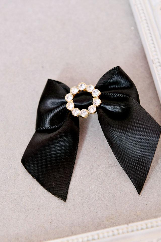 【Princess Melody】♪ビジューリングぷちおりぼんクリップ 3個SET♪ - ブラック size-F