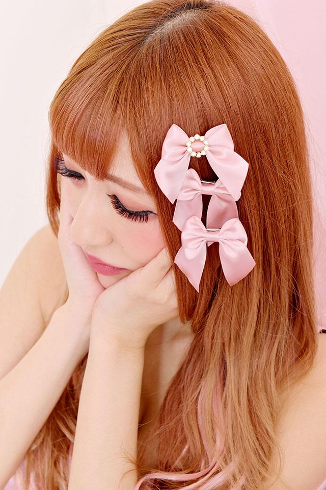【Princess Melody】♪ビジューリングぷちおりぼんクリップ 3個SET♪ - ピンク size-F