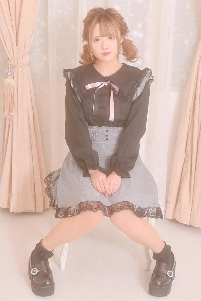 【MA*RS】三角レースセーラーブラウス(2色リボン付) - ブラック size-F
