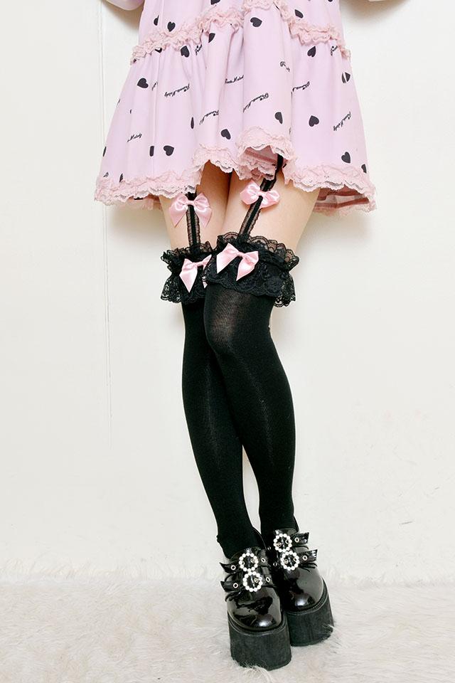 【Princess Melody】♪ダブルおりぼんガーターニーハイ♪ - ピンク size-F