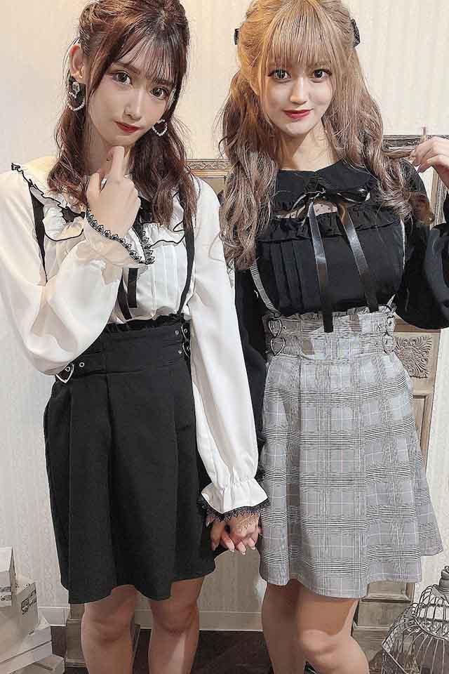 【MA*RS】Wハートバックルプリーツスカート - BLK/ホワイト size-F