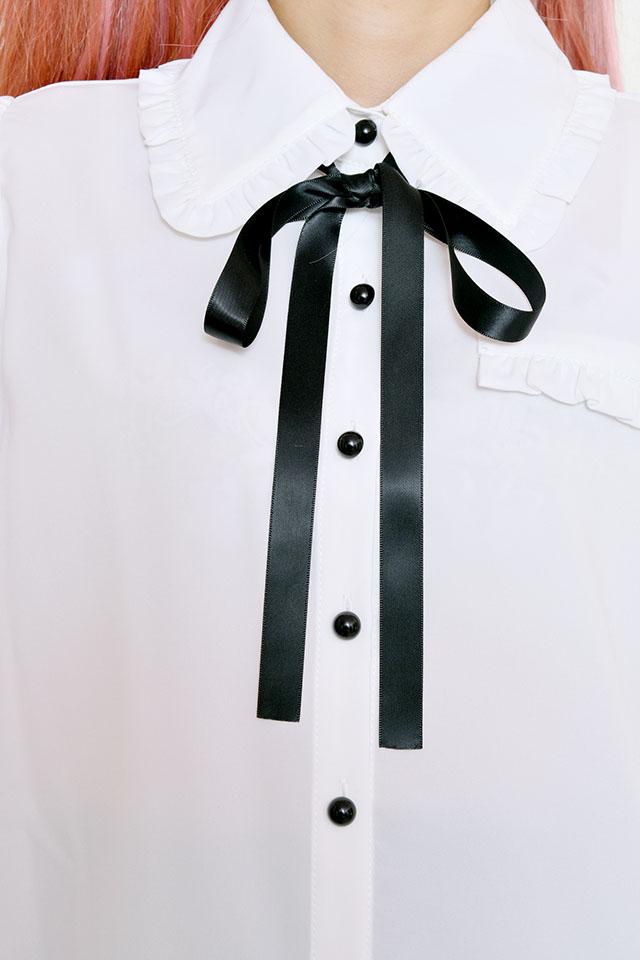 【MA*RS】見せ掛けポケット付きフリル襟ブラウス - ホワイト size-F