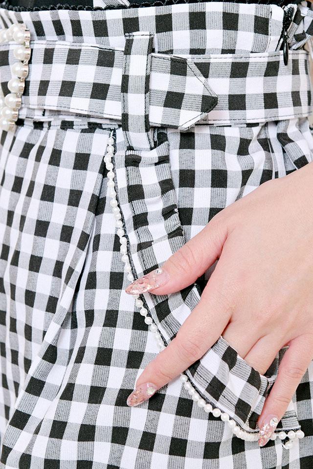 【Princess Melody】♪ギンガム&無地パールハートバックル付ショートパンツ♪ - BLK/ホワイト size-F