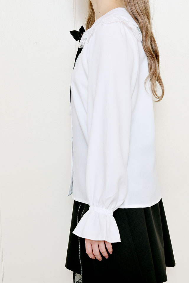 【MA*RS】☆WEB限定☆襟レースブローチ付きブラウス - ホワイト size-F