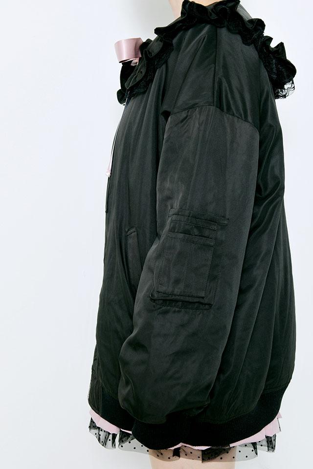 【MA*RS】セーラーリボンロングブルゾン - ブラック size-F
