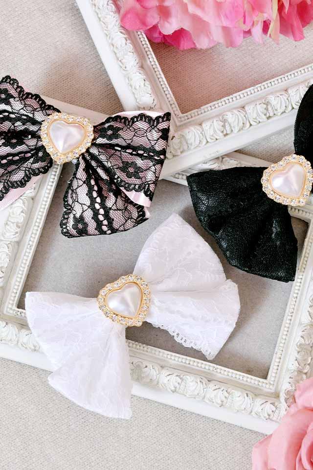 【Princess Melody】♪パールハートレースプリティクリップ♪ - ブラック size-F