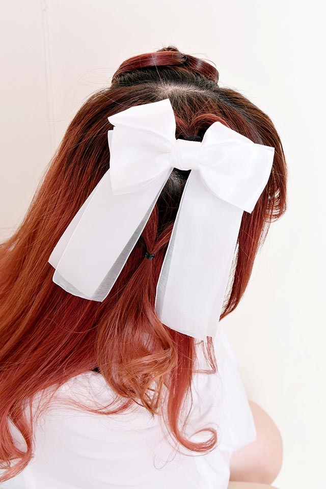 ☆50%OFF☆【MA*RS】オーガンジー×サテンリボンヘアゴム - ホワイト size-F