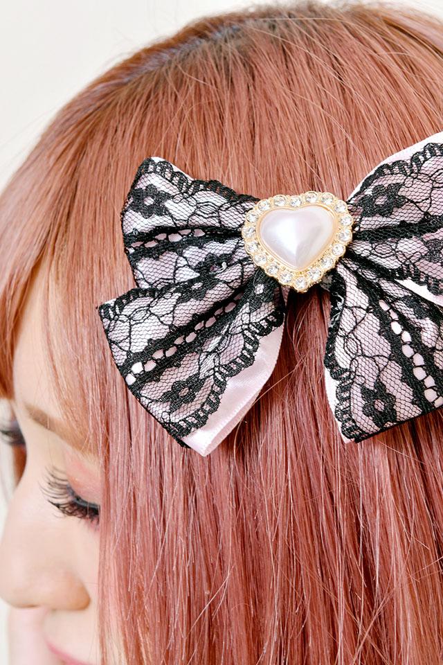 【Princess Melody】♪パールハートレースプリティクリップ♪ - ピンク size-F
