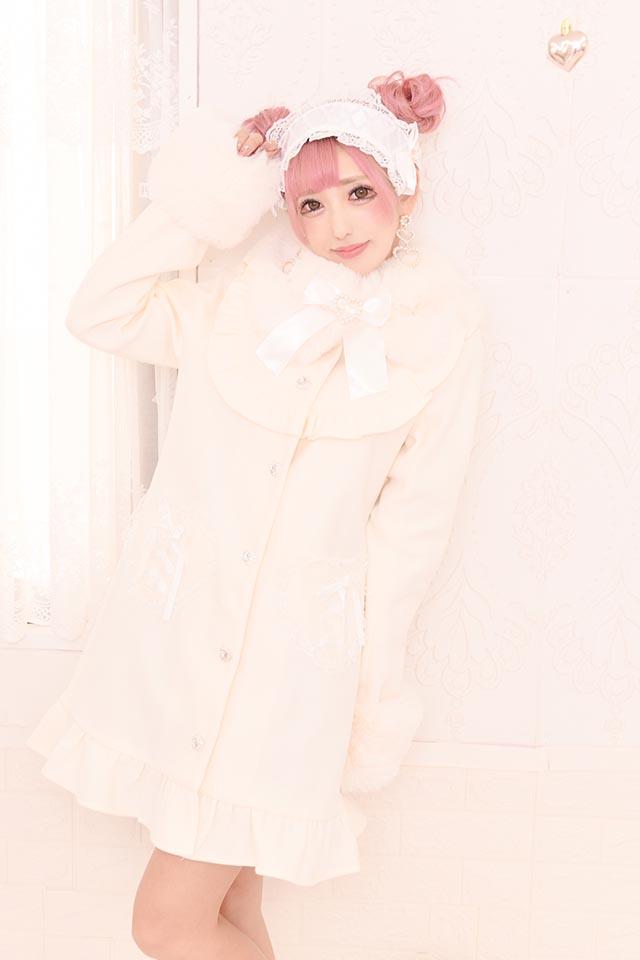 【Princess Melody】♪ファーティペット付きヨークコート♪ - ホワイト size-F