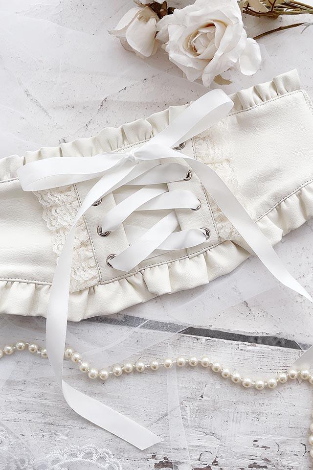 【Princess Melody】♪フリルコルセットベルト♪ - ホワイト size-F