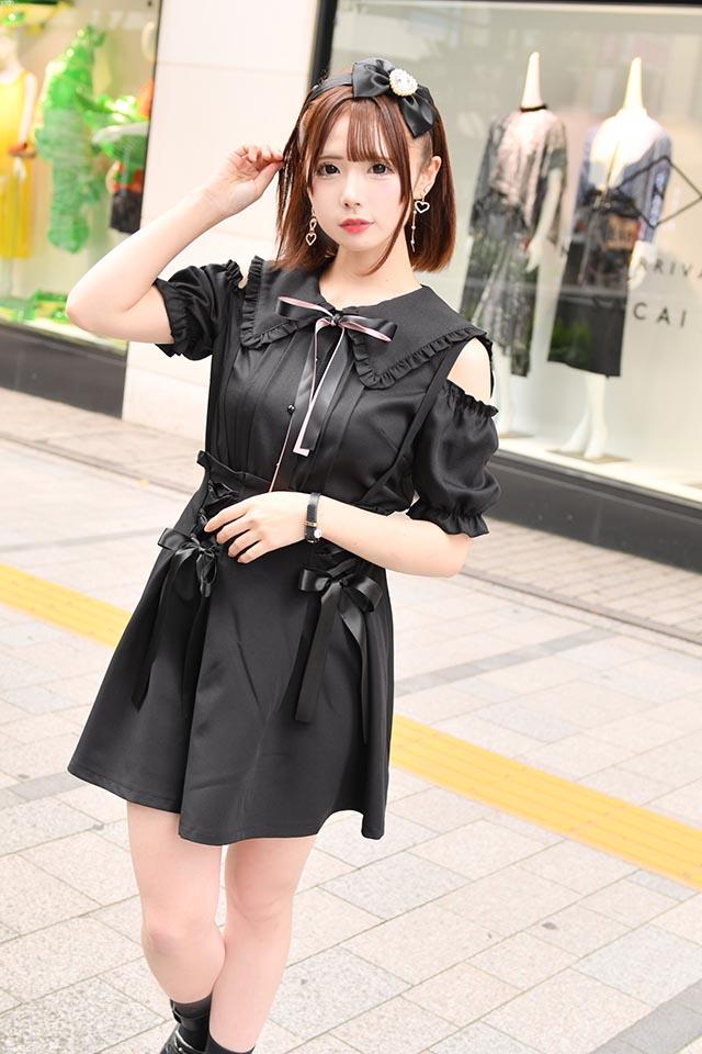 【MA*RS】肩あき三角セーラー襟ブラウス(2色リボン付) - ブラック size-F