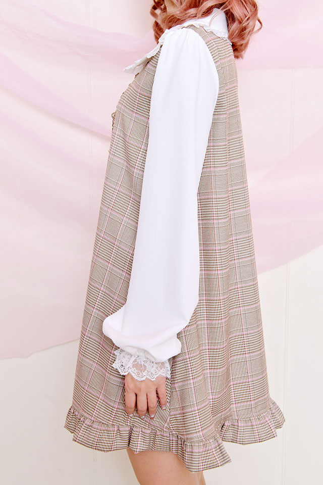 ☆26%OFF☆【Princess Melody】♪Girlyチェック&無地セーラーワンピ♪ - ブラウン size-F