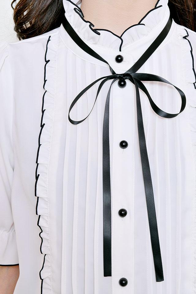 【MA*RS】メロースタンドネックブラウス - ホワイト size-F
