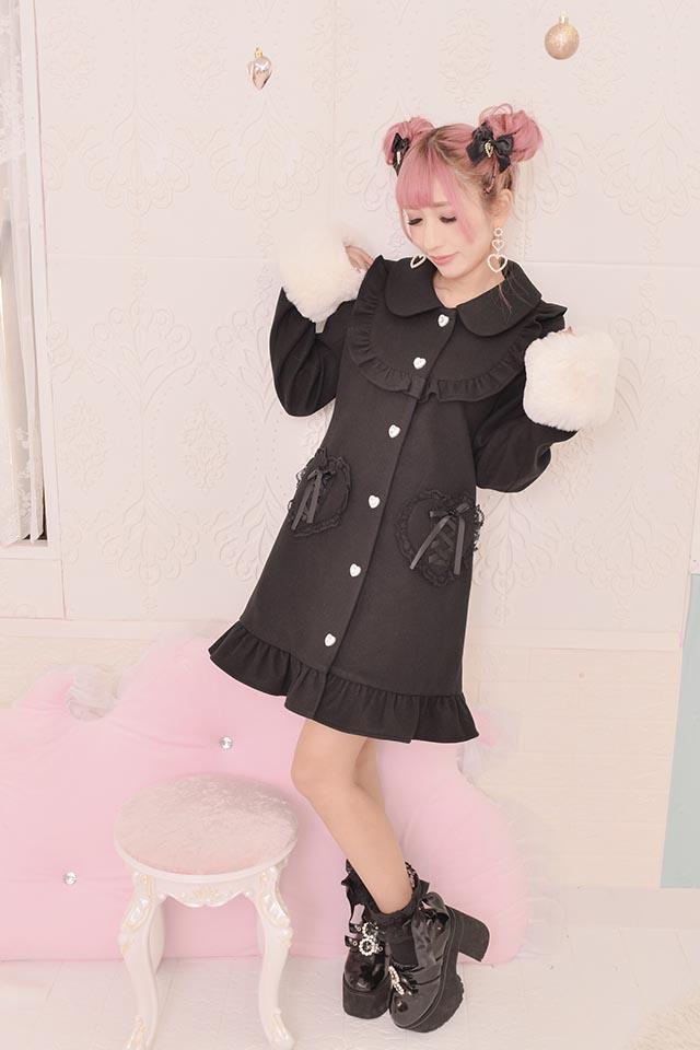 【Princess Melody】♪ファーティペット付きヨークコート♪ - ブラック size-F
