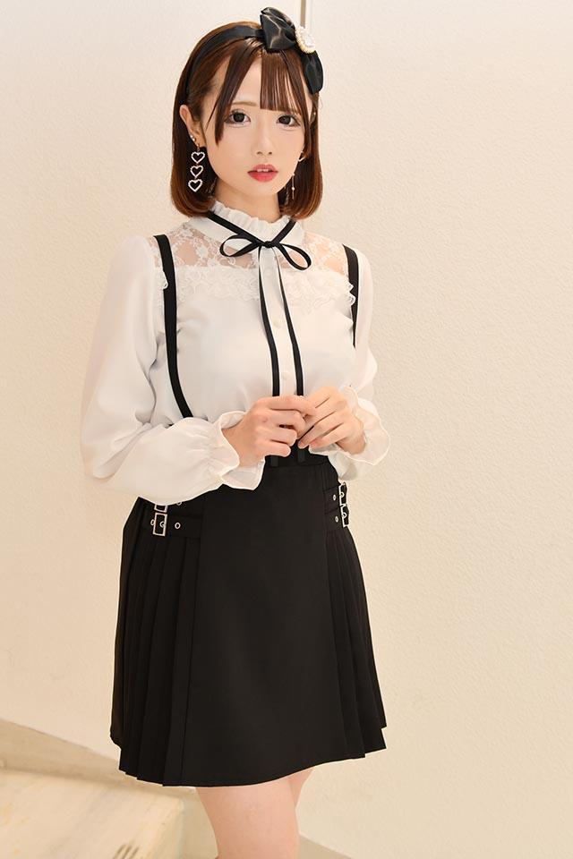 【MA*RS】サイドダブルバックル&プリーツスカート - ブラック size-F
