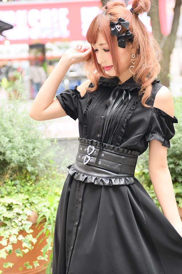 ☆21%OFF☆【MA*RS】肩開きメローマキシワンピ - ブラック size-F