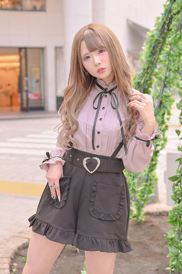 【MA*RS】ハートバックルフリルポケットショートパンツ - ブラック size-F
