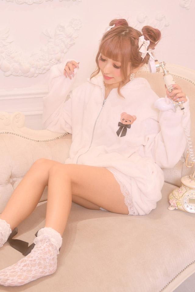 【Princess Melody】♪ふわもこくまちゃんルームウエア2点SET♪ - ホワイト size-F
