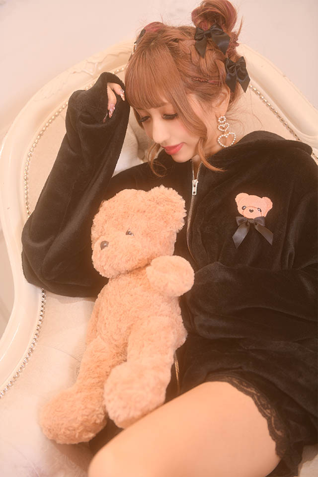 【Princess Melody】♪ふわもこくまちゃんルームウエア2点SET♪ - ブラック size-F