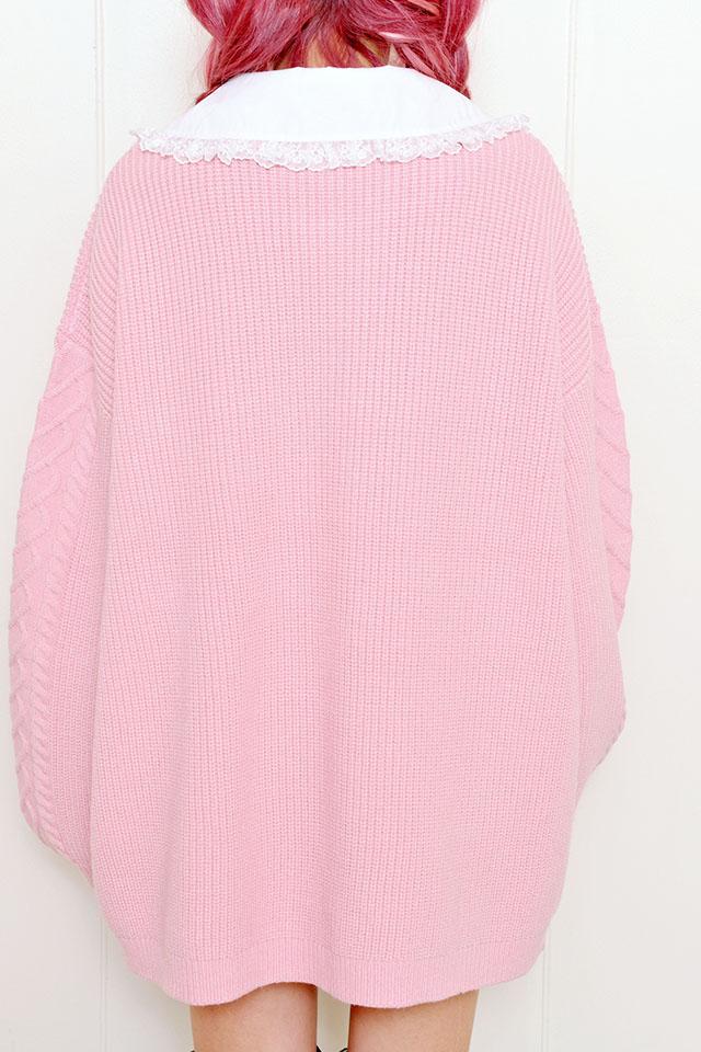 【Princess Melody】♪お襟付きLOVEくまちゃんニット♪ - ピンク size-F