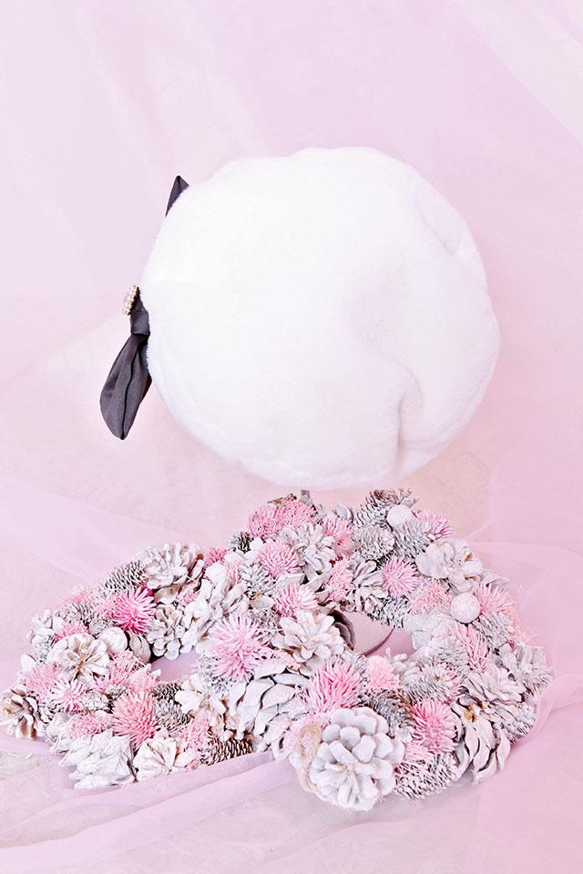 【Princess Melody】おりぼん付きふぁーキャスケット - ホワイト size-F