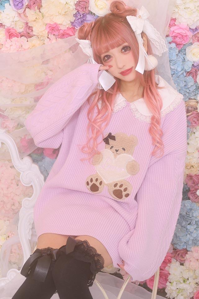 【Princess Melody】♪お襟付きLOVEくまちゃんニット♪ - ラベンダー size-F